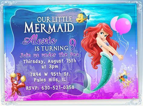 mermaid ariel birthday invitation card invite