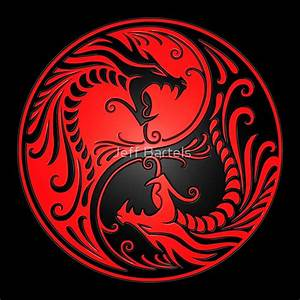 """Yin Yang Dragons Red and Black"" Posters by jeff bartels"