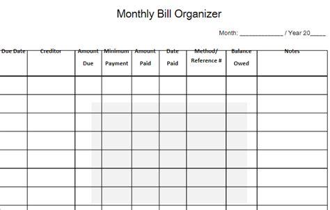 monthly bill organizer  word templates