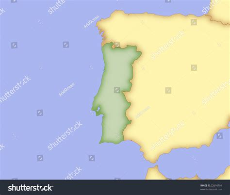 Map Portugal Borders Surrounding Countries Stock