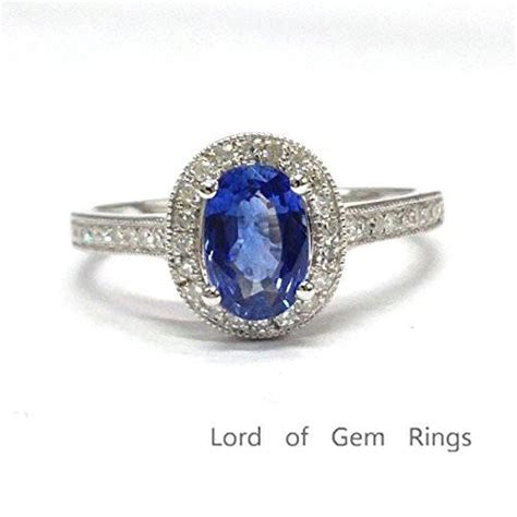 oval tanzanite engagement ring pave diamond wedding