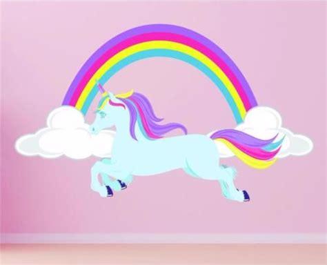 Horse Unicorn Rainbow Girls Pretty Clouds Wall Art Sticker