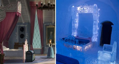 ice hotel created  bedroom
