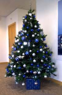 christmas tree decorations in blue and silver christmas decorating