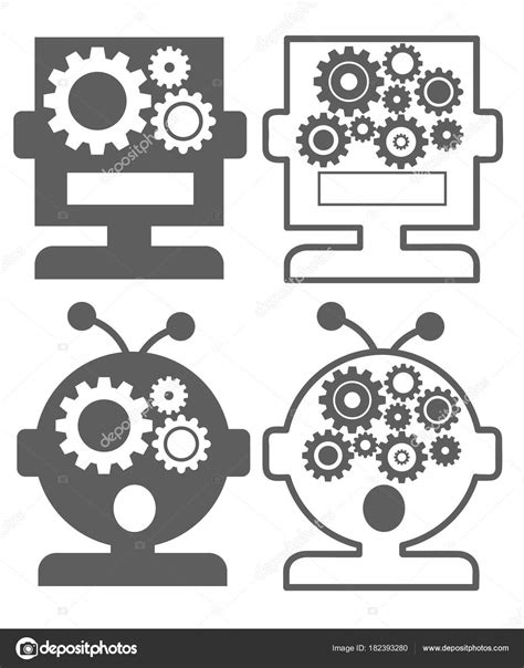 Artificial Intelligence Ai Robot - icon set — Stock Vector