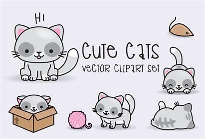 Kawaii Clipart Vector Cats Premium Vectors Gatos