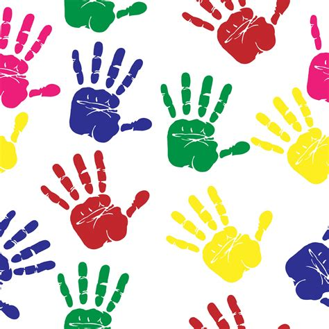 hand prints colorful seamless paper  stock photo