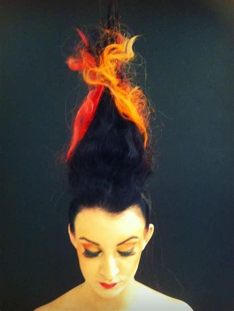 fire photoshoot flame creative hair art fire girl