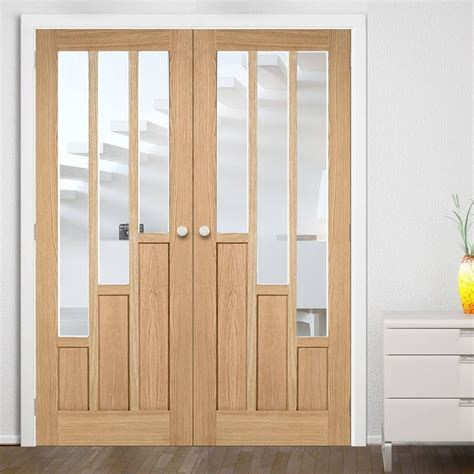 bespoke coventry contemporary oak door pair  clear