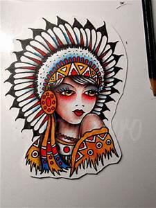 Traditional Tattoo Flash Native American Girl Watercolor ...
