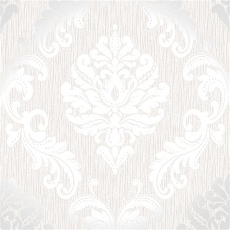 Henderson Interiors Chelsea Glitter Damask Wallpaper White