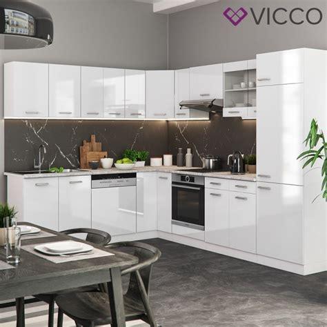 Vicco Eck Küche Rline Weiß Hochglanz + Arbeitsplatten