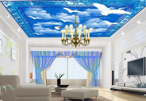custom  ceiling mural wallpaper white dove living room