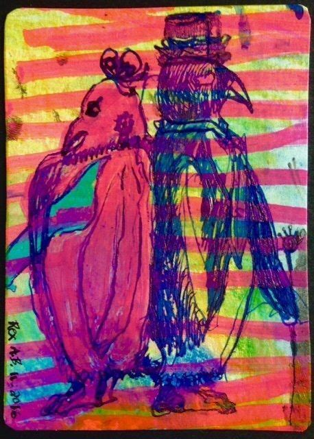 artist original aceo art card pompous penguins signed rex