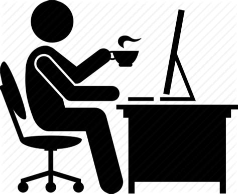 Coffee, Computer, Drinking, Office, Tea, Working Icon