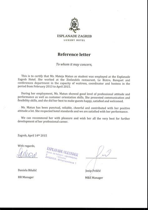 reference letter esplanade zagreb hotel