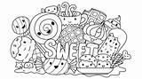 Coloring Cute Sweets Sweet Vector Monsters Pages Monster Drawn Element Am Illustration Somjai sketch template