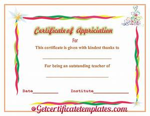 certificate of appreciation for outstanding teaching With certificate of appreciation for teachers template