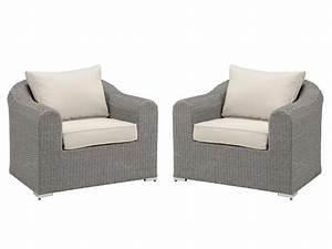 Fauteuil De Jardin En Résine : lot de 2 fauteuils de jardin paraiba en r sine tress e assise cr me ~ Teatrodelosmanantiales.com Idées de Décoration