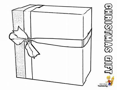 Coloring Christmas Pages Gift Present Box Wrapped