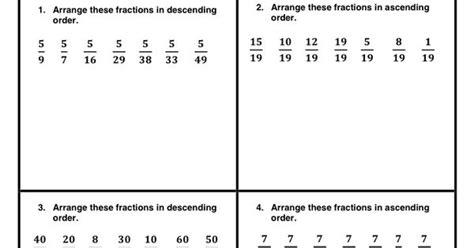handout  practice  concept  arranging fractions