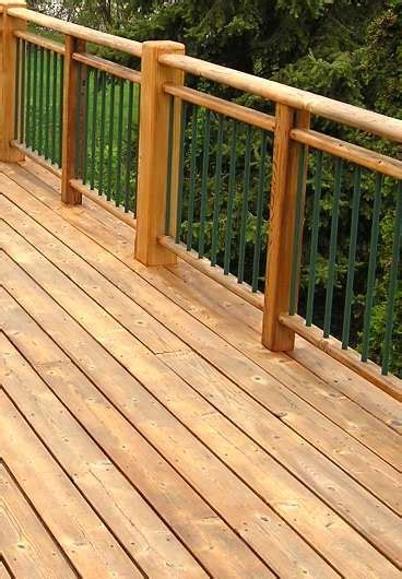 traditional red cedar paired  metal balusters