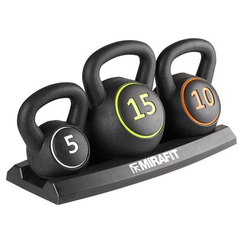 kettlebell weight mirafit stand fitness gym training vinyl strength 3pc weights 3pce 15lbs kettlebells 14kg tag brand exercise packaging 10lb