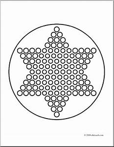 clip art chinese checkers coloring page abcteach With chinese checkers board template