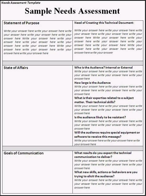 assessment template needs assessment template word excel formats