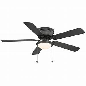 52 In Hampton Bay Hugger Flush Mount Black Ceiling Fan