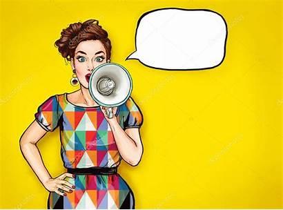 Pop Woman Megaphone Lady Poster Loudspeaker