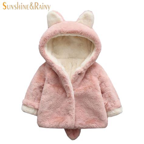 ear hooded coat bunny design baby jackets winter faux