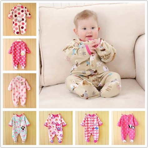 0-12M Autumn Fleece Baby Rompers Cute Pink Baby Girl Boy Clothing Infant Baby Girl Clothes ...