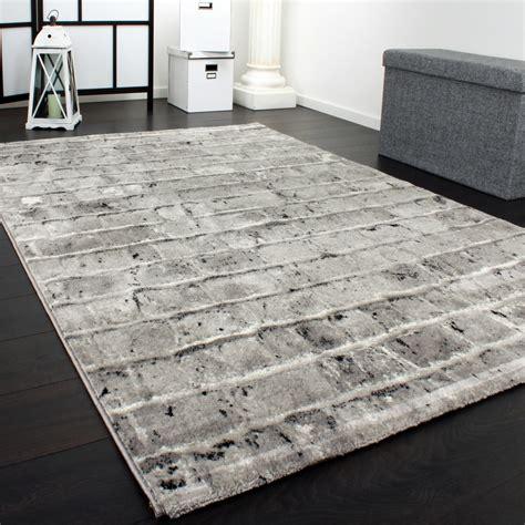 edler designer teppich mit steinwand optik  grau schwarz