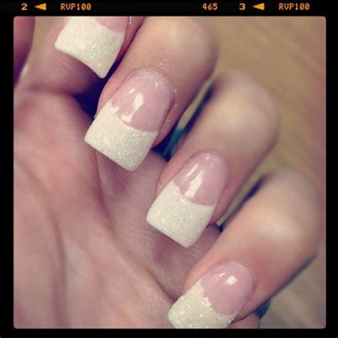 allison green clear white french manicure glitter nails