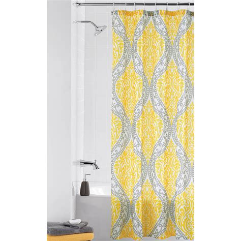 shower curtain yellow and gray curtain ideas
