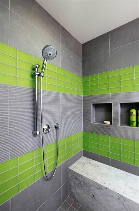 Lime Green Bathroom Tiles by This Mixture Of Lime Green Glass With Flat Gray