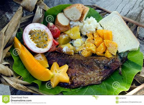 island cuisine tropical food dish in aitutaki lagoon cook islands stock