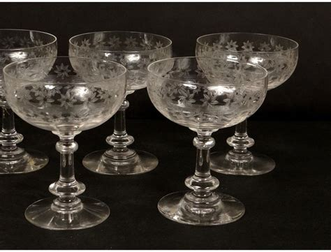 7 champagne glasses crystal cut glass french antique stars