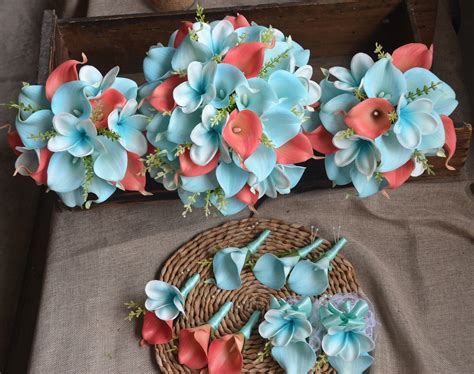 Coral Blue Wedding Bouquets Package Real Touch Flowers Calla