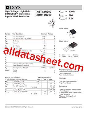 IXBH12N300 Datasheet(PDF) - IXYS Corporation