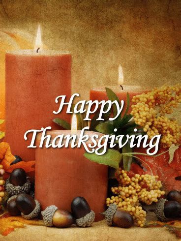 classic candles happy thanksgiving card birthday