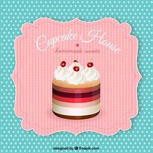 Retro label with a cupcake Vector | Free Download
