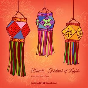 Diwali lanterns background Vector | Free Download