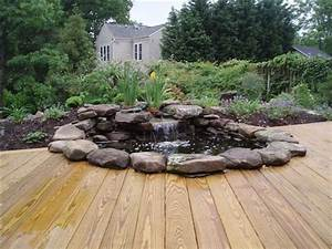Waterfall Pond with Wood Stained Deck - Contemporary