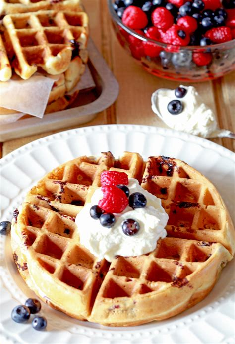 blueberry belgian waffles with