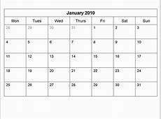 2010 Monthly Calendar Template