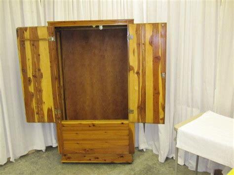 1950 s or 1960 s cedar armoire wardrobe on casters