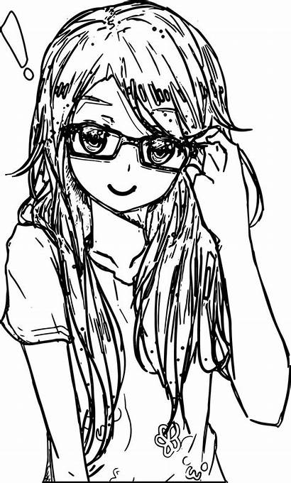 Coloring Anime Pages Glasses Awesome Colouring Sheets