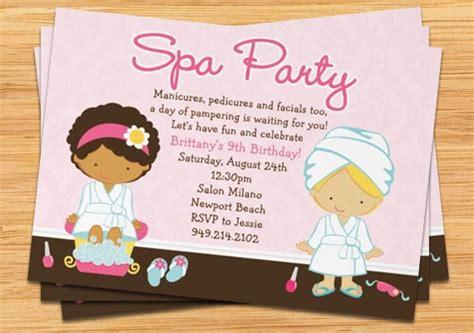girls spa party invitation